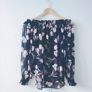SmilingBear Tops - 2for$39⬛️NWT chiffon pink floral off-shoulder top